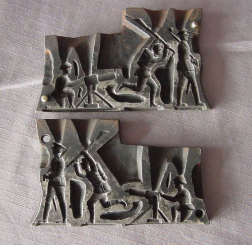 Vtg Antique Wwi Lead Toy Soldiers Mold Quot Make A Toy Co Quot Ny
