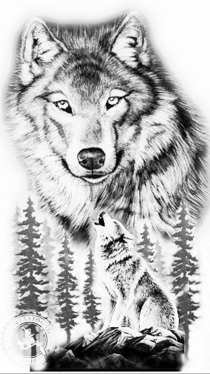 Эскизы волка с пейзажем фото