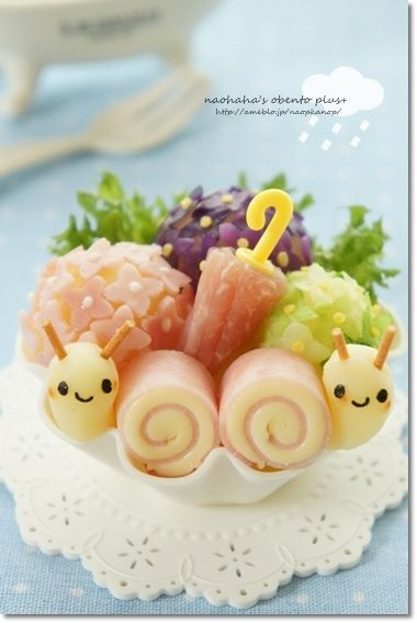 Cute Snail Twins Kyaraben Bento by Naohaha (Ham, Cheese, Mashed Potato, Fried Pasta and Nori)
