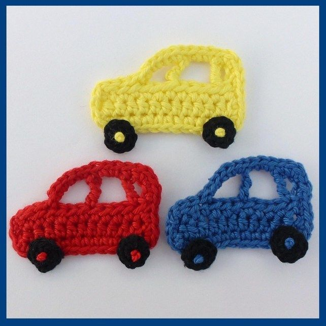 3 Crochet applique cars, red ,blue and yellow, appliques and embellishments.