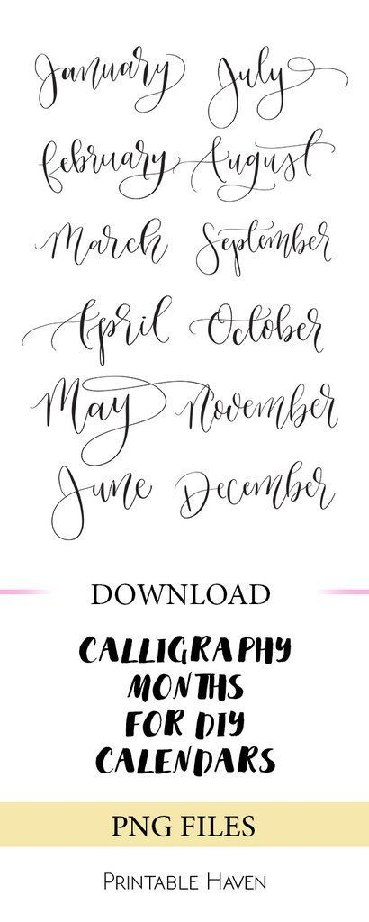 PNG files for calendars. January - December. Perfect for DIY projects   templates. Instant download.
