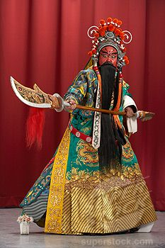 Beijing Opera Costumes,China Guang Gong, Ancient Chinese General in Beijing Opera Costume, Represents Protection and Wealth