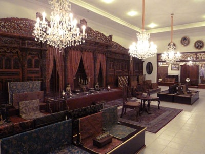 Javanese Batik Museum, Solo, Indonesia  Opulent museum with many colorful Indonesian batiks