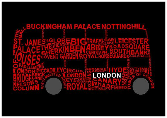 LONDON poster, London art, typography, wall decor, poster, London attractions
