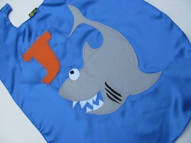 Childrens Superhero Costume  Capes Custom Personalized  Shark Kid Cape. $25.00, via Etsy.