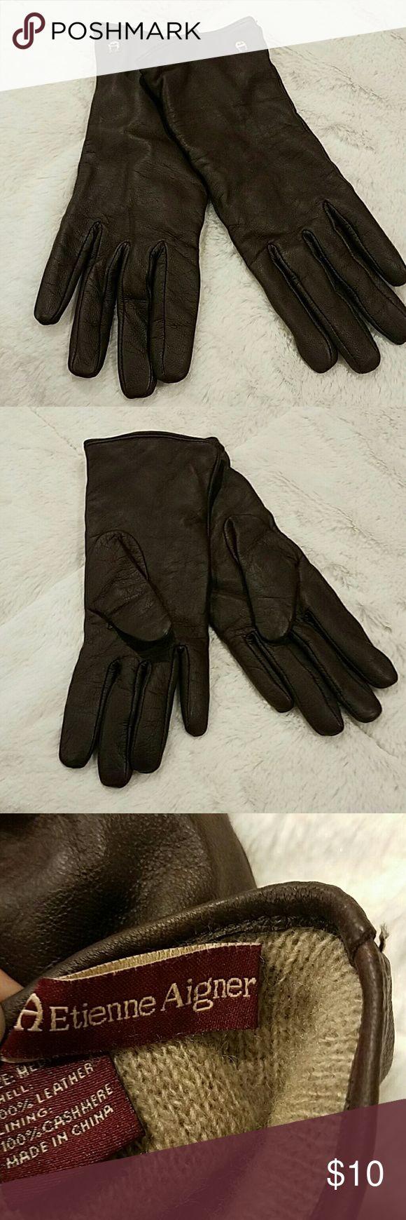 Etienne aigner black leather gloves - Gloves Leather And Cashmere Etienne Gloves Etienne Aigner Accessories