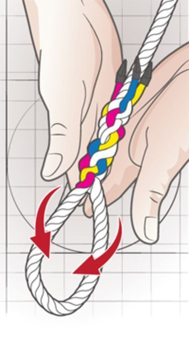 Step-by-step instructions for making an eye splice.