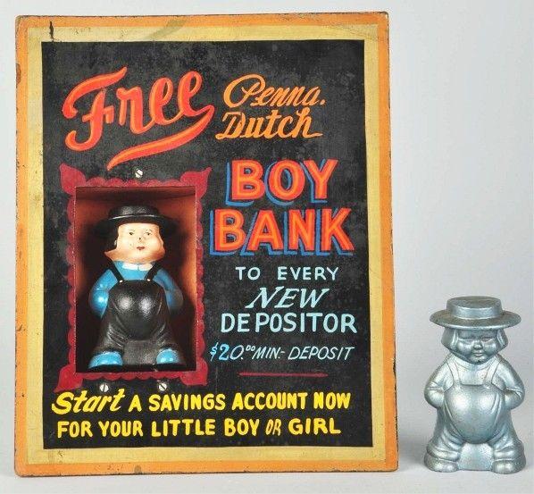 cast iron promotional Amish man bank
