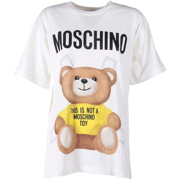 Moschino Moschino Teddy Bear Jersey-Cotton T-Shirt ($150) ❤ liked on Polyvore featuring tops, t-shirts, multicolor, white t shirt, crew neck tee, white crew t shirt, white top and multi color t shirts