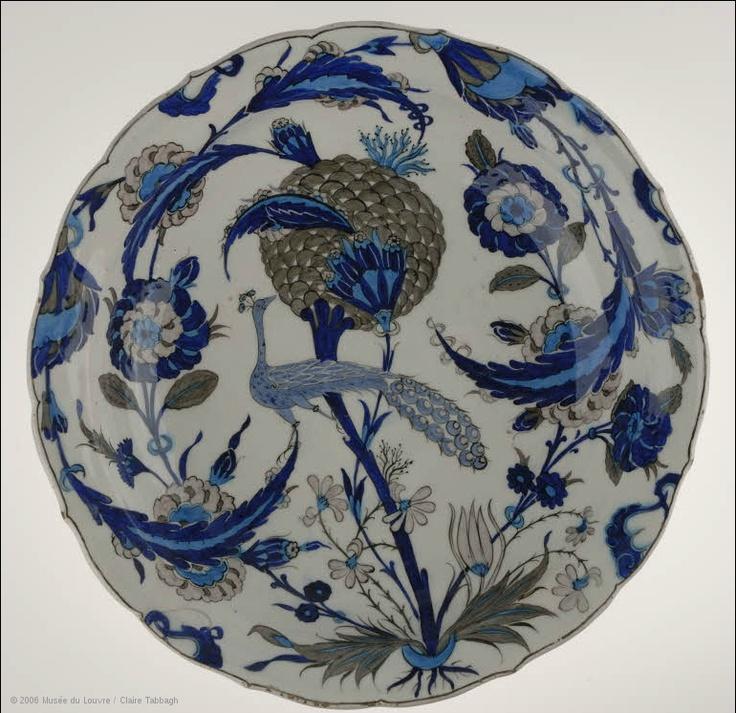 Peacock Dish 1540-55 Iznik, Turkey Composite body, underglaze painted on white slip, transparent glaze