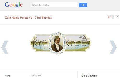"""""""죽음에게 지붕이 무슨 필요가 있으며 어떤 바람이 그에게 맞서 불겠는가? 그는 세상이 내려다보이는 높은 집에 서 있다.""""  2014년 1월 7일. 구글이 흑인 여성 문학의 선구자 조라 닐 허스턴의 123번째 생일을 기념하기 위해 검색창 위에 그녀의 초상화를 올려"""