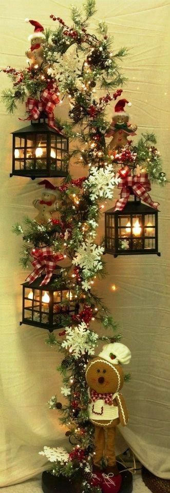 Christmas Decor: No Instructions....looks like a hook for plants....add lanterns.....flowers and a cute gingerbread!
