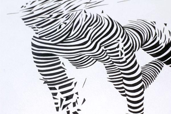Girl in strips by Tomasz Zawistowski, via Behance