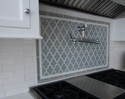 Moroccan flair - gray and white backsplah. Love the moroccan style  tile!!