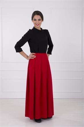 Kuaybe Gider özel tasarım kırmızı uzun etek. Son moda uzun etekler. tesettür giyim moda 2013