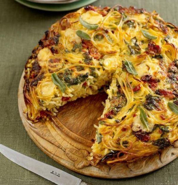 TORT DE SPAGHETE CU SPANAC, BRANZA SI ROSII USCATE: http://femina.rol.ro/tort-de-spaghete-cu-spanac-branza-si-rosii-uscate-96247.html