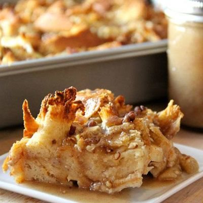Caramel Apple Bread Pudding with Caramel Sauce •2 cups whole milk •2 cups heavy cream •9 large egg yolks •3/4 cup light brown sugar •1 teaspoon vanilla extract •1 teaspoon cinnamon •1 teaspoon salt •1 loaf challa bread, cut or torn into 1-inch pieces (preferably stale*) •3 ½ cups Granny Smith apples, peeled and chopped •3/4 cup pecans, chopped and toasted Caramel Sauce: •½ c butter •3/4 c sugar •1 T light corn syrup •½ c buttermilk •1 t baking soda •½ t  cinnamon •1 t vanilla •pinch of salt