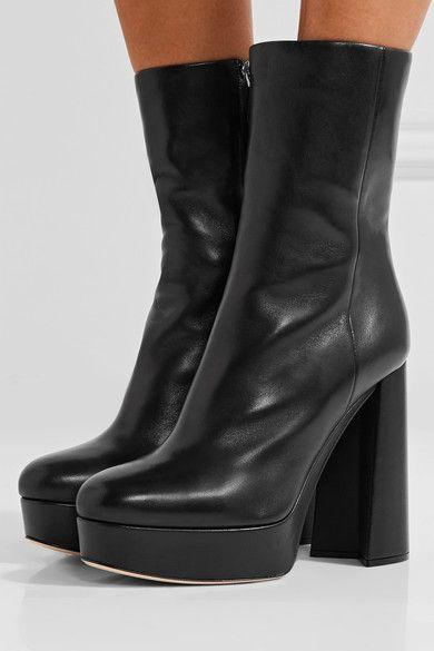 Miu Miu - Leather Platform Boots - Black - IT41.5