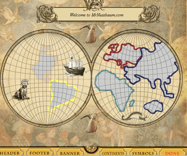 "THIS IS FUN! Arrange the continents anyway you want--sort of how the 15th century map makers used their imagination to fill in where things might be (including sea monsters) ""Old World Map Maker – Make your own Explorers Map"""