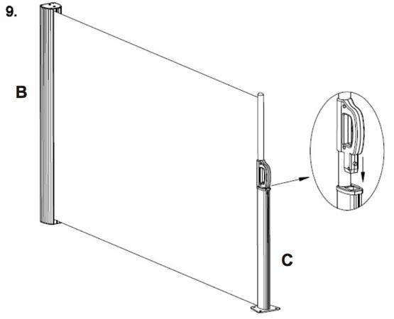 Het oprolbare Leco-windscherm is de ideale manier om uw terras of tuin te beschermen tegen de wind en ongewenste inkijk. Voor gebruik wordt het zeil uitgetrokken van de muurbevestiging tot de paal met grondbevestiging. Deze paal kan geplaatst worden tot op 3 meter van de muurbeugel. Het frame rond het zeil is in aluminium aldus volledig roestvrij. Dankzij één gemakkelijke trekbeweging kunt u dus het zeil plaatsen of opbergen. Praktisch en eenvoudig te monteren!