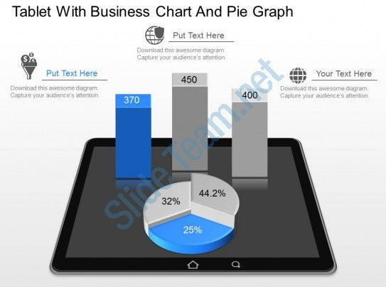 gp tablet with business chart and pie graph powerpoint template Slide01