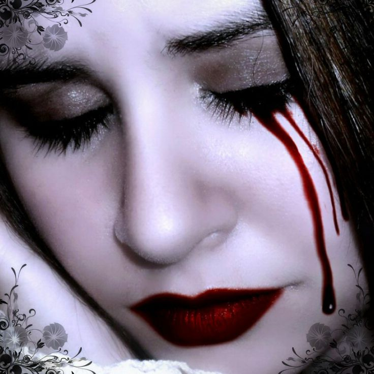 A vampire crying blood