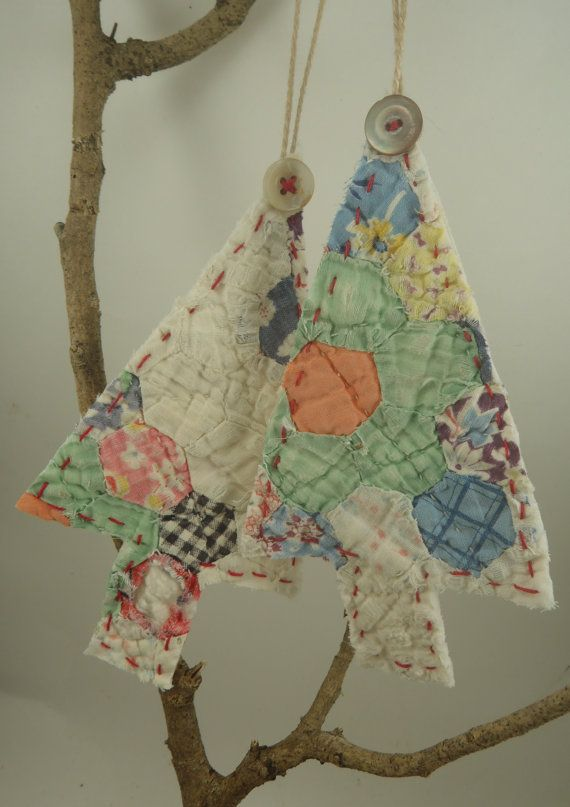 Vintage Quilt Ornaments Upcycled Christmas Tree Hanging by slvilov, $18.00