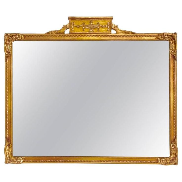 Neoclassical Gold Giltwood Mirror Rectangular Mantle Mirror