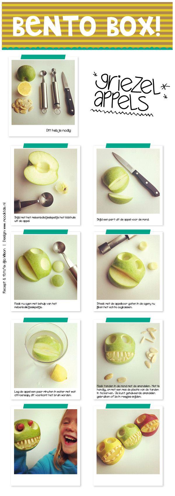 BENTO appels stap voor stap uitleg griezelappels voor halloween, gevaarlijk gezond!