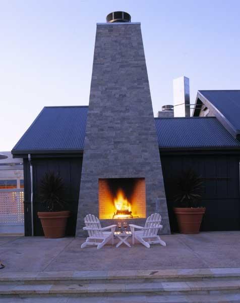 Elegant Outdoor Fireplace