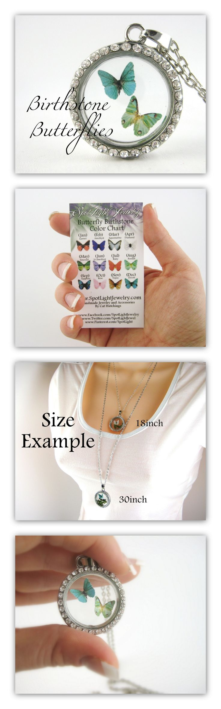Two Birthstone Butterfly Floating Locket Mother Necklace. Perfect For a Mom with two children or a new mom and baby. $33.95