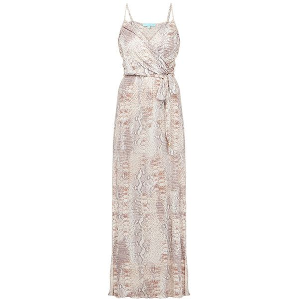 Melissa Odabash Zoe Lizard Print Sweetheart Neck Maxi Beach Dress (2.507.525 IDR) ❤ liked on Polyvore featuring dresses, animal print, elastic waist dress, pink sweetheart dress, elastic waist maxi dress, beach dresses and sweetheart neckline maxi dress