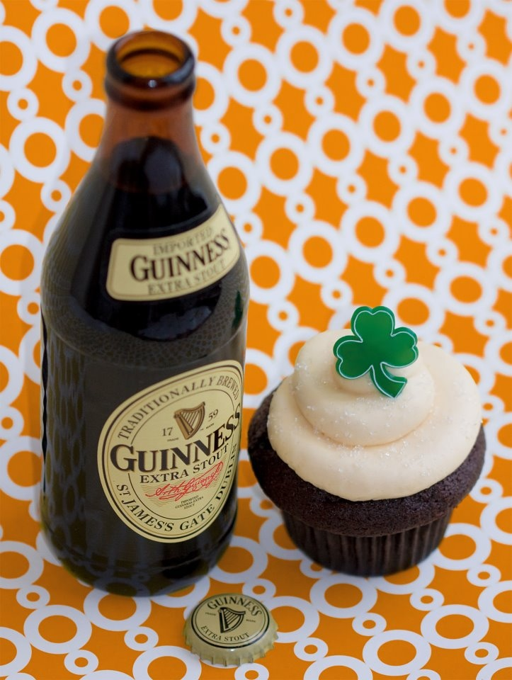 Trophy Cupcakes St. Patricks Day special: Chocolate Guinness Stout cake with Irish Buttercream frosting!  I gotta get down there and try one for myself.