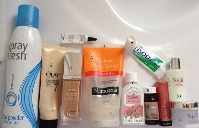 May 1 spray fresh 24hr action baby powder deodorant 2 Olay Total effects 7-in-1 anti aging cream  3 Precision Chanel Ultra Correction Line Repair Anti-wrinkle eye cream 4 Diorskin Nude Natural Glow Hydrating Makeup with 10 SPF in shade 032  5 Neutrogena Oil-free Daily scrub 6 Crabtree & Evelyn Rosewater & Glycerine Body Lotion  8 Nak Aroma Hair Oil  9 Revlon Colorburst Lip butter in Pink Truffle 001  10 SK-II Facial treatment clear lotion  11 SK-II facial treatment cleansing gel