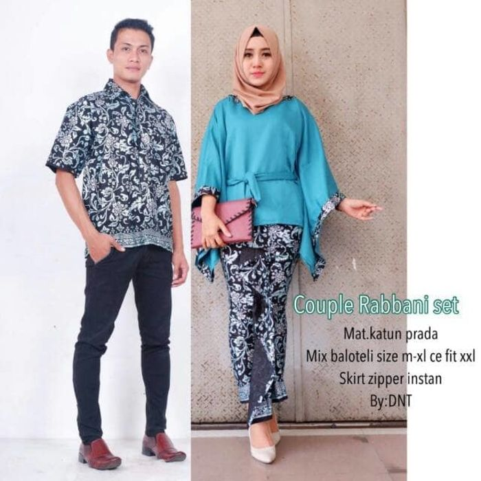 Setelan Model Baju Batik Couple Sarimbit Lowo Rabbani Warna Biru ... af4df2f46a