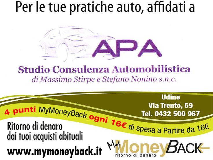 A.P.A. snc di Stirpe e Nonino si occupa di pratiche auto.  Grazie a MyMoneyBack hai 4 punti MyMoneyBack ogni 16 € di spesa a partire da 16 € di acquisti!! Affida le tue pratiche auto a dei professionisti guadagnando punti da cambiare in denaro contante!  #MyMoneyBack