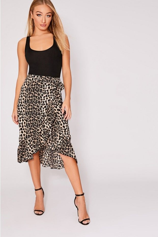 51c24a703a89 Miren brown leopard print wrap frill midi skirt in 2019   Everyday ...