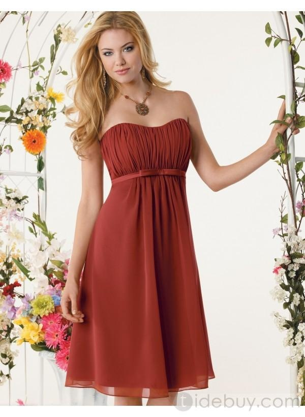 Strapless Rouched Bodice with Elegant Bow Short A line Skirt Hot Sell Bridesmaid Dress BM-0018