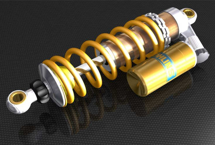 Computer Aided Design: Ohlins Shock - Created by Julian Thomas in TurboCAD Professional.