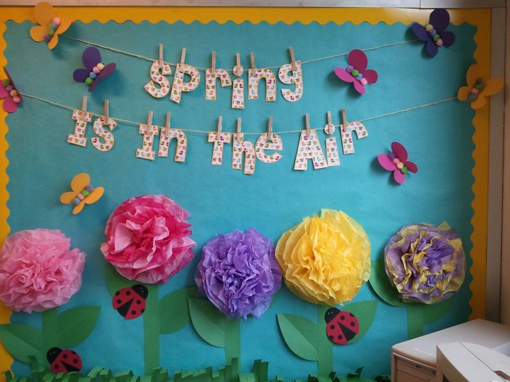 Springtime bulletin board in my 4th grade classroom! Perfect for March through…