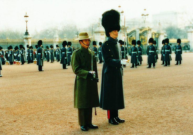 Public Duties at Buckingham Palace December 1987 - Lt (QGO) Amarbahadur Gurung with his Brigade of Guards counterpart