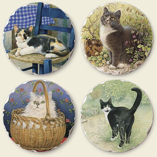ColorfulCritters - Cat Tumbled Tile Coasters 4 Different Cats  - Set of 4 - 04-780, $13.49 (http://www.colorfulcritters.com/cattumbledtilecoastersivorycats-setof4-04-780.aspx)