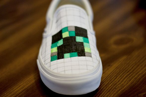Make your own Creeper Sneakers #Minecraft Vans