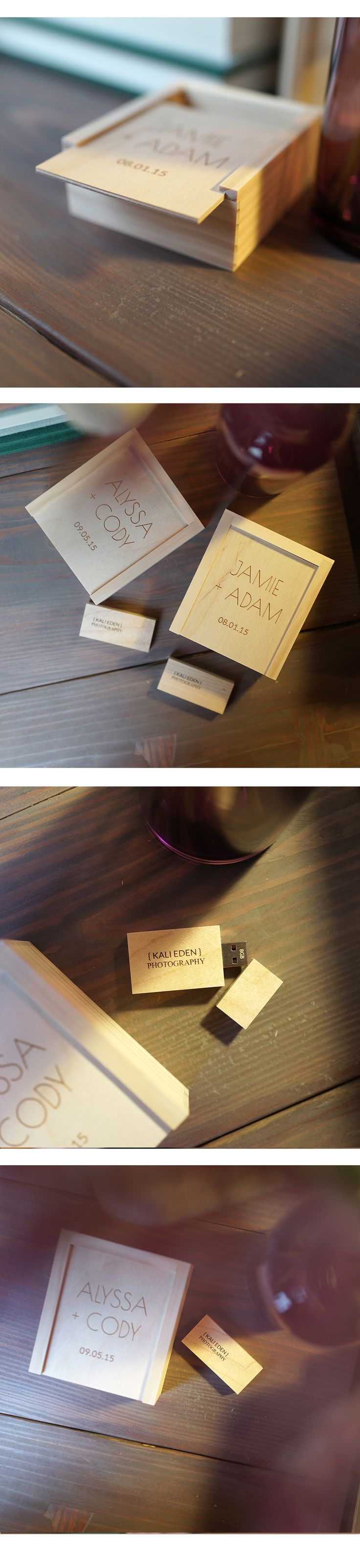 We freaking LOVE these adorable wooden USB + Boxes! <3
