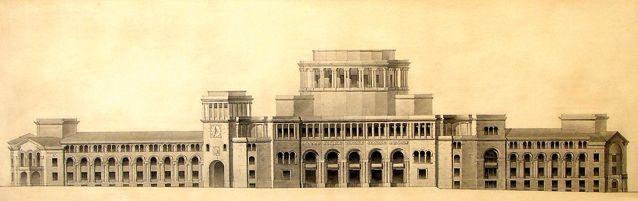 Проект Дома правительства в Эривани. Центральная часть здания, в которой должен был располагаться актовый зал, построена не была