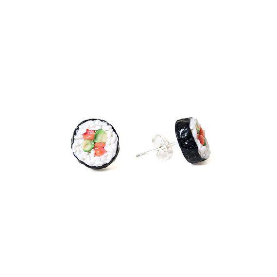 Sushi Roll Earrings - Food Jewelry