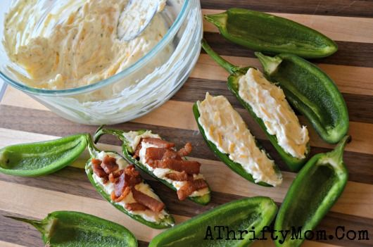 Stuffed Jalapenos With Crispy Bacon, quick and easy recipe, party Recipes, Superbowl Recipes. Can't wait to try this recipeEasy Recipe