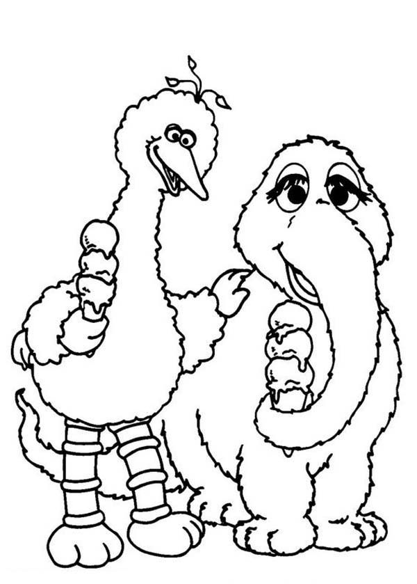 sesame street big bird and mammoth eating ice cream in sesame street coloring page