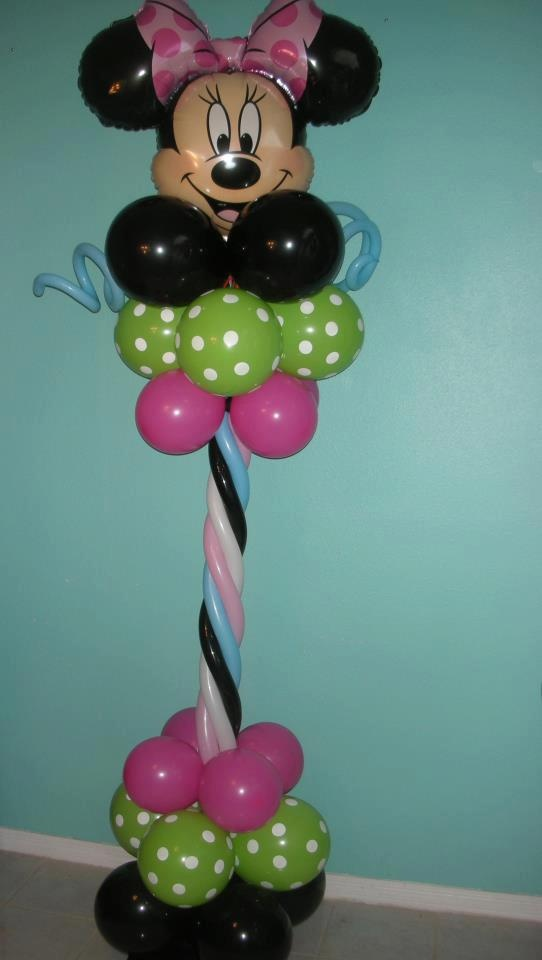 Minnie mouse theme column by for Balloon decoration minnie mouse