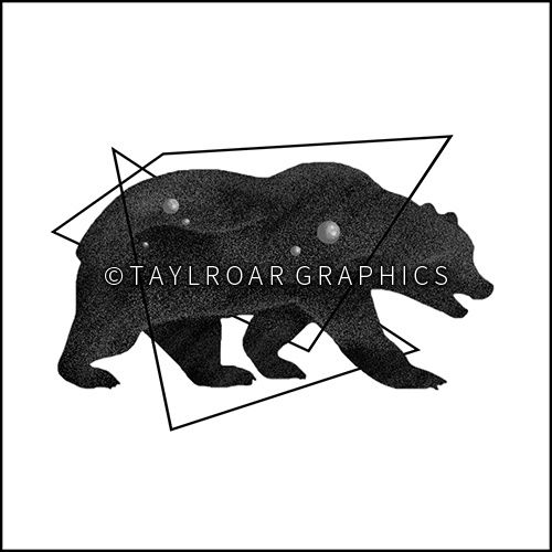Grizzly bear silhouette with geometric elements custom tattoo design. www.taylroargraphics.com